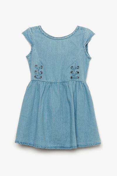Denim Dress with Lace-Up Detail