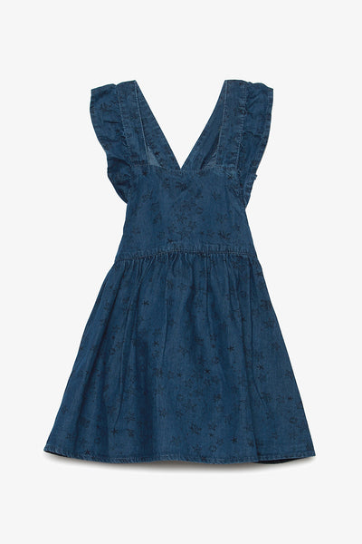 FOX BABY Girl Denim Cross-Back Dress