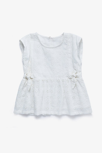 FOX BABY Girl Eyelet Tee with Side-Ties