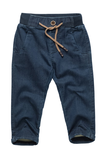 Cotton Blend Pants with Drawstring