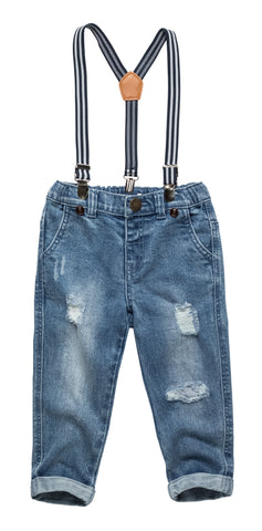 Destroyed Jeans with Suspenders
