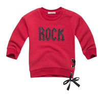 """Rock"" Sweatshirt with Lace Up Details"