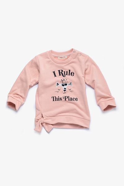 FOX BABY Girl Printed Sweater with Side-Tie