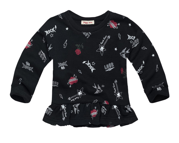 All Over Print Sweatshirt with Ruffle Hem