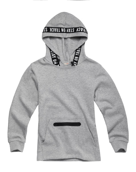 Hooded Sweater with Text Tape