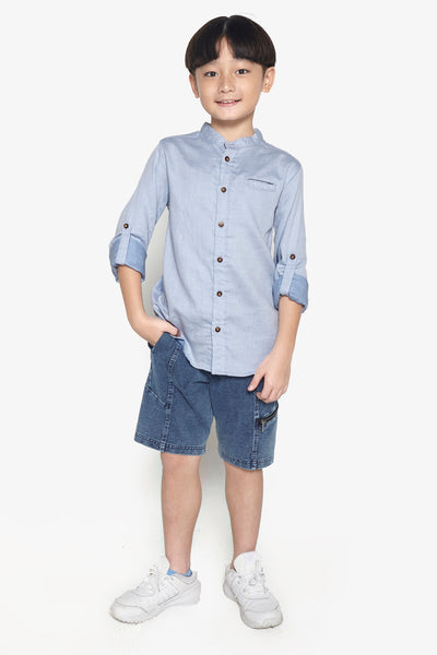 FOX Kid Boy Lightweight Mandarin Collar Shirt