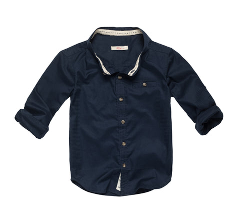 Mandarin Collar Roll-Up Sleeves Shirt