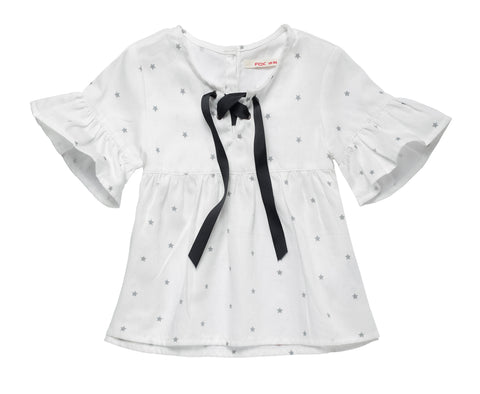 All Over Print Laced Up Blouse