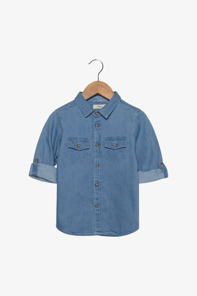 FOX Newborn & Baby Denim Button Up Shirt