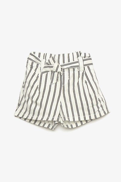 Striped Cotton Shorts with Belt