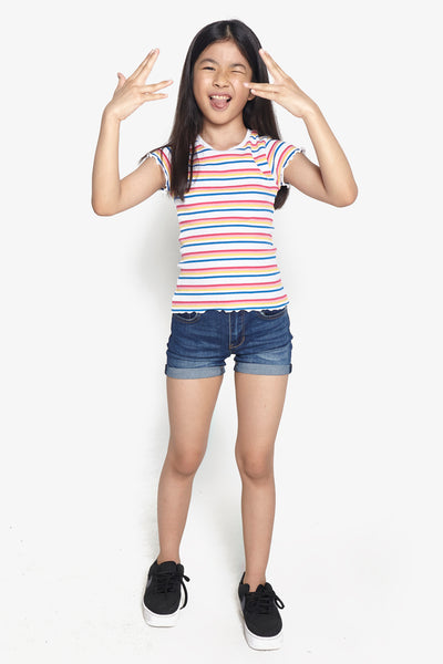 FOX Kid Girl Frill Sleeve Striped Tee