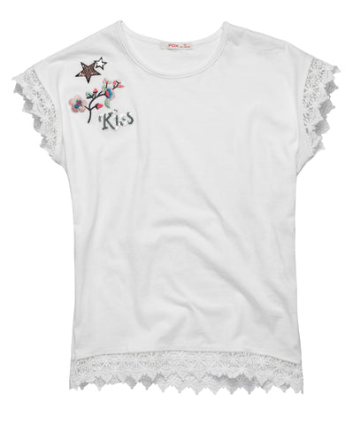 Tee with Lace Hem and Embroidery