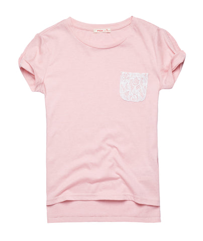 Tee with Lace Pocket