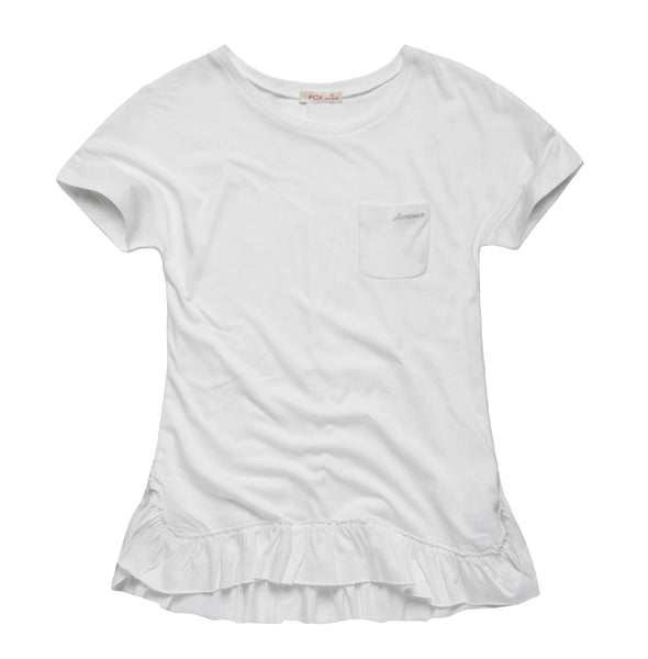 Tee with Frilled Hem