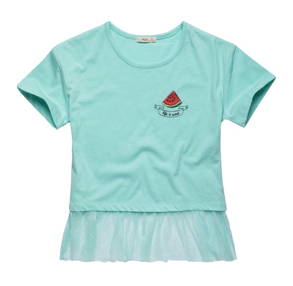 Watermelon Cropped Tee with Tulle Hem