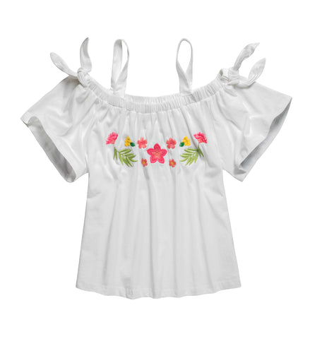 Off Shoulder Tee with Embroidery