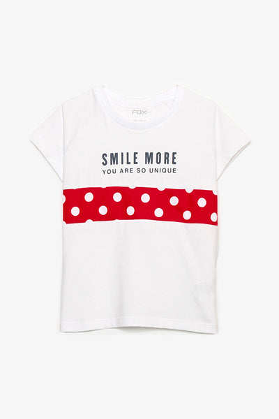 FOX KIDS Girl Tee with Red Polka Dots Design