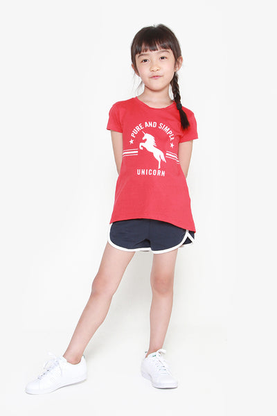 FOX KIDS Girl Printed Tee with Slight Back Opening