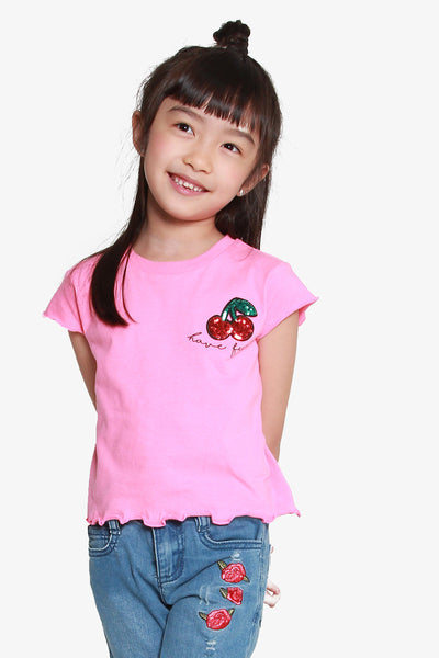 FOX KIDS Girl Tee with Sequin Cherry