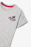 FOX KIDS Girl Striped Slogan Tee with Cherry Glitter Print
