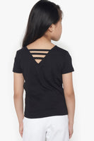 FOX Kid Girl Metallic Print Back Detail Tee