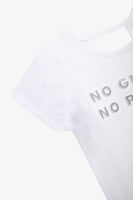 FOX Kid Girl Slogan Print Back Detail Tee