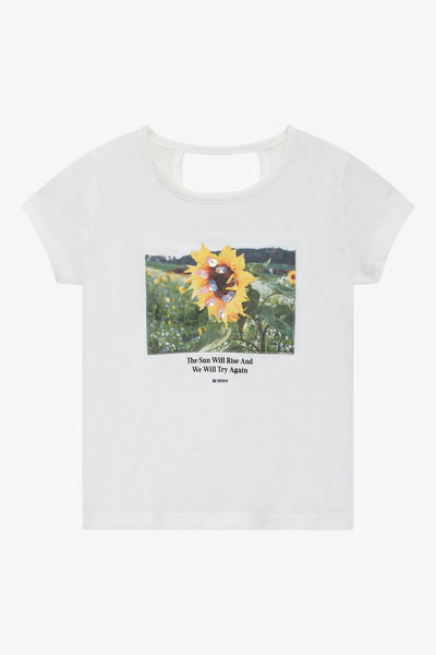 FOX Kid Girl Keyhole-Back Printed Tee