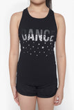 FOX Kid Girl Glitter Print Racer Back Tank Top