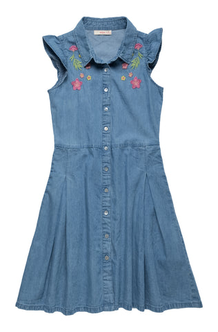 Denim Dress with Embroidery