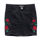 Denim Skirt with Rose Embroidery