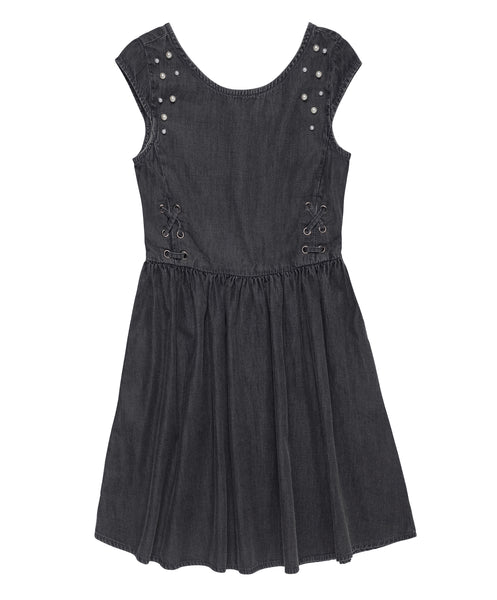 Denim Laced Up Dress with Embellishment