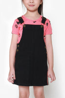 FOX KIDS Girl Denim Dungaree Dress with Side Stripes