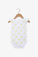 FOX Newborn & Baby Flutter Sleeve Allover Print Romper