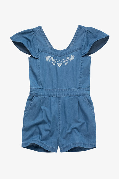 FOX KIDS Girl Denim Romper with Embroidery