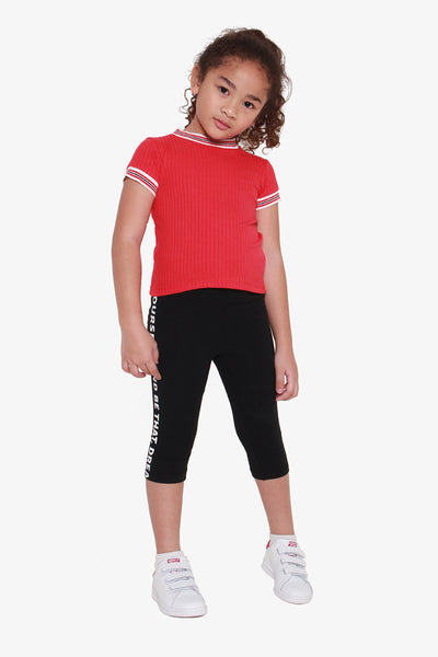 Jersey Leggings with Text Detail