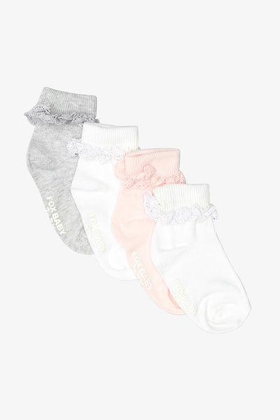 FOX NEWBORN 4-Pack Socks with Lace