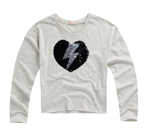 Heart Tee with Reversible Sequins
