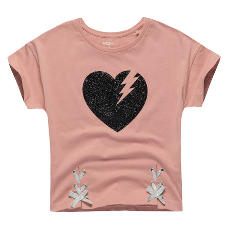 Heart Print Lace-up Tee