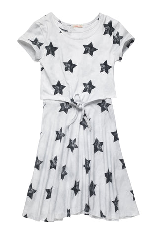 Star Print Tie-front Dress