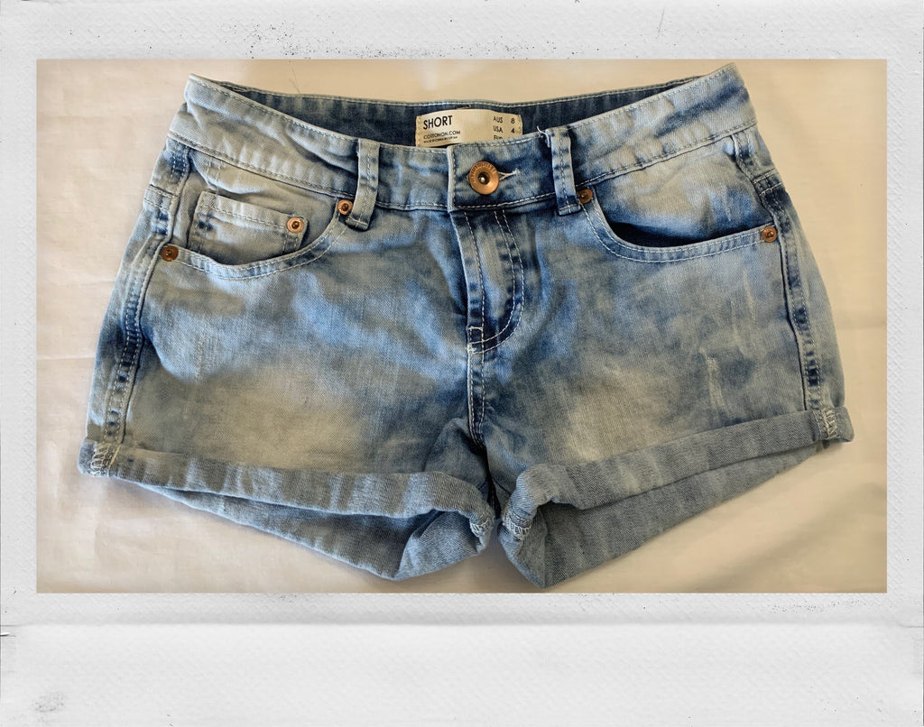 Acid-Washed Jean Short