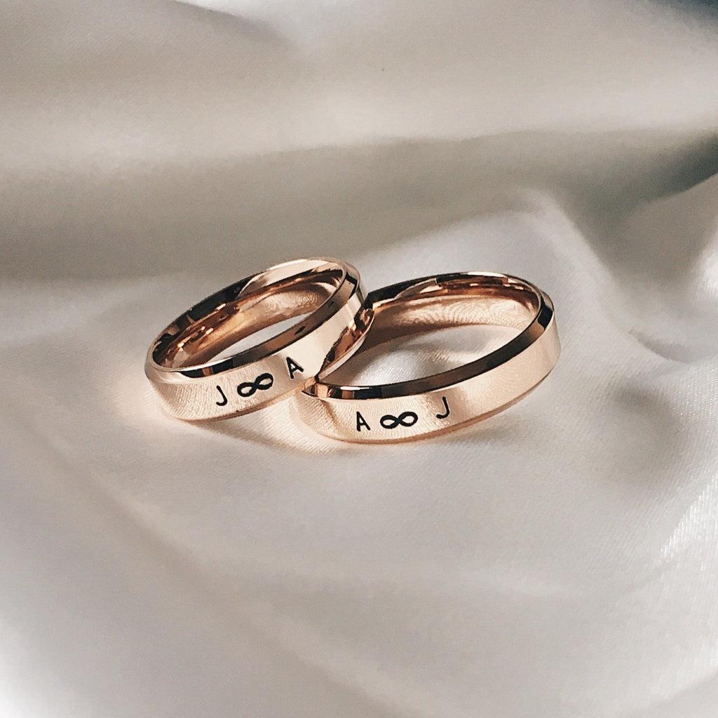 Lumiere Bevelled Couple Rings (Hand-Stamped)
