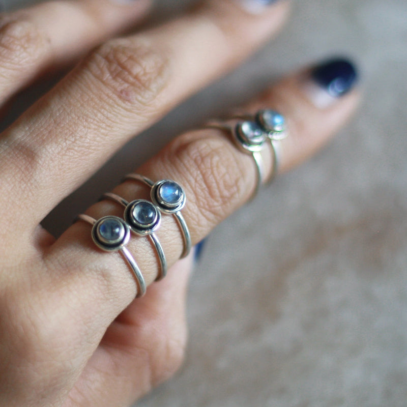Blue Iris Stacking Ring (Moonstone) - Last 2 pieces