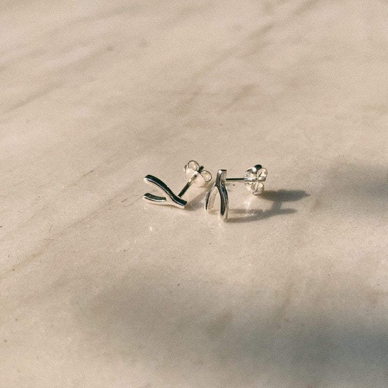 Sterling Silver Wishbone Stud Earrings