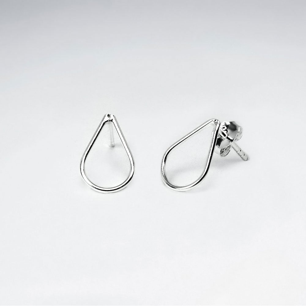 Sterling Silver Raindrop Stud Earrings