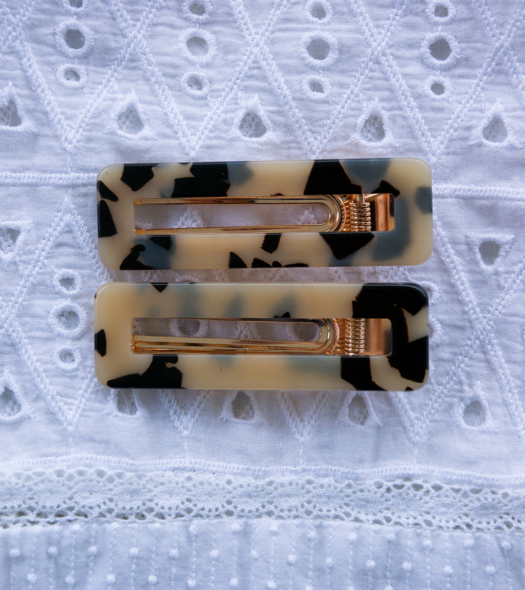 LEOPARD HINGED BARRETTE SQUARE