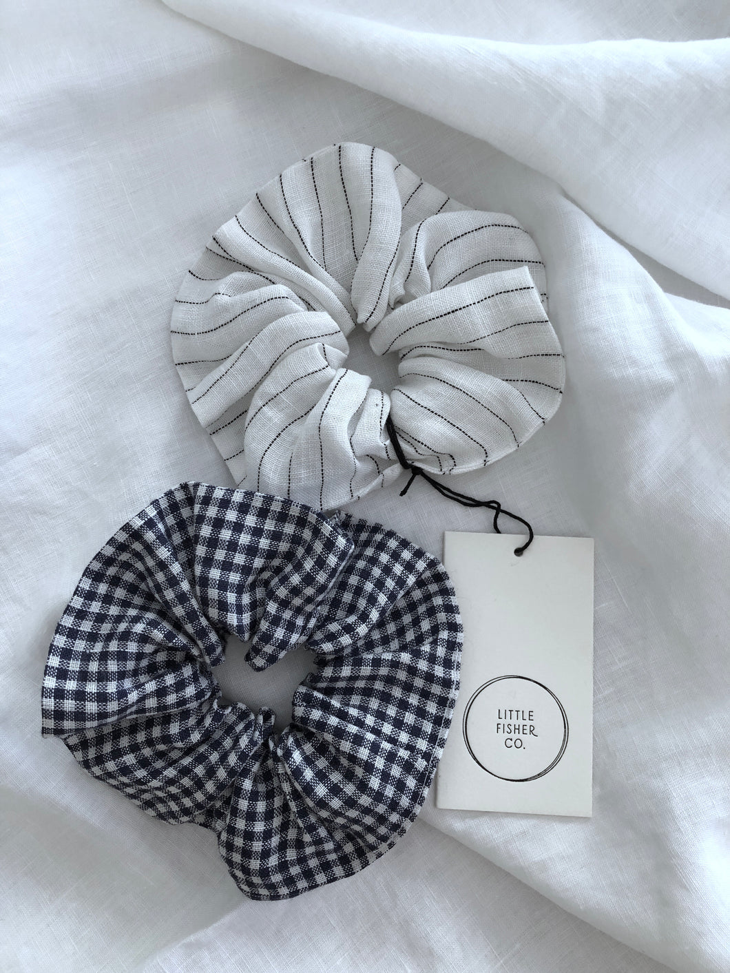 GINGHAM & STRIPED FRENCH LINEN SCRUNCHIE