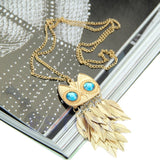 Gold Leaves Owl Charm Long Pendant Necklace