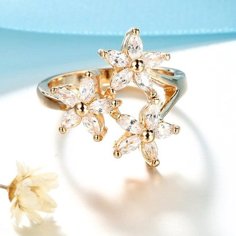 Triple Flower Gold Plated Cocktail Party Ring (Free+Shipping)