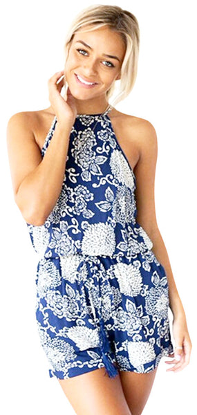 Backless Blue Floral Print Summer Jumpsuit Romper