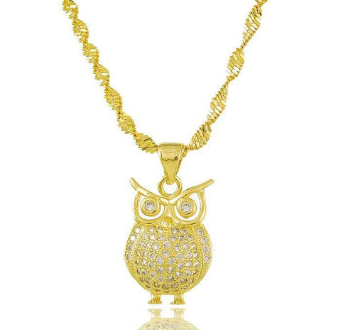 Yellow 24K Gold Plated Owl Pendant Necklace